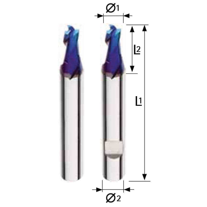 Solid carbide slotting end mill - 3 flutes Short