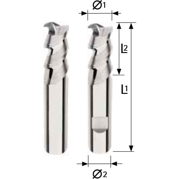Solid carbide Alu-cutter - 2 flutes Short