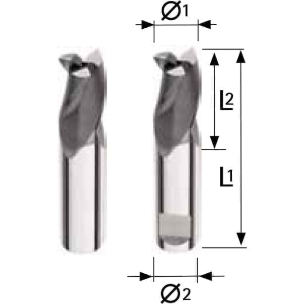 Solid carbide slotting end mill - 3 flutes Extra Short